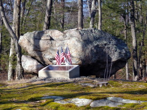 Monument honoring three servicemen killed in a military plane crash August 5, 1943 on Wolf Hill in Smithfield R.I.