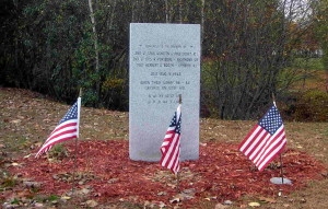 Memorial in Smithfield, R.I. dedicated to the three men who died in a military plane crash, August 5, 1943