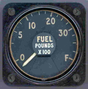English Electric Canberra T-19 Fuel Gauge - One of three used in the aircraft.