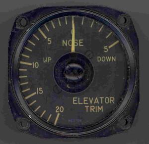 U.S. Navy Grumman F9F-5 Panther Elevator Trim Gauge.