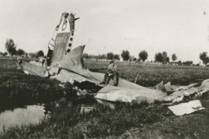 The tail section of Sergeant Martin's downed B-17.            Photograph  provided through Peter den Tek.