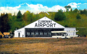 1930s Post Card View Of The  Claremont, New Hampshire, Airport.