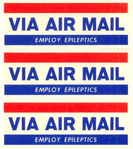 Circa 1950s Employ Epileptics Air Mail Stamp