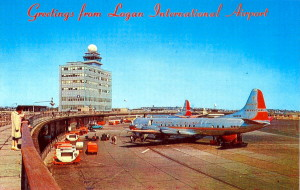 Vintage Post Card View Of  Logan International Airport