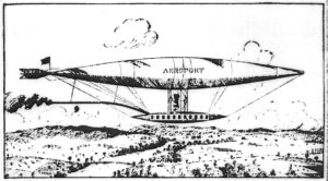"Rufus Porter's Dirigible Airship of 1850 Note the word ""Aeroport"" on the side of the ship. Illustration from The New York Sun November 23, 1913"
