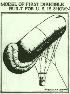 Artist rendering of the first dirigible produced for the U.S. Navy.