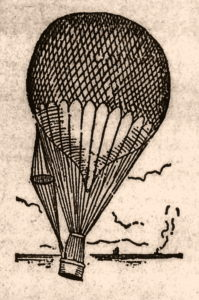 Balloon ascending with parachute attached to the side.