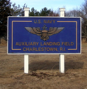Sign for Charlestown Aux. Landing Field in Charlestown, Rhode Island