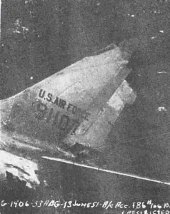 Tail fin of Lt. Kirby's F-86 - US Air Force Photo from Investigation Report