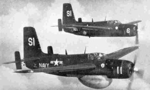 On a fog shrouded day in 1953, a Gruman AF-2W Guardian like the one pictured here crashed in Putnam, Ct. killing four servicemen. (U.S. Navy photo.)