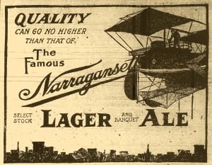 Narragansett Beer ad - Airship - 1910