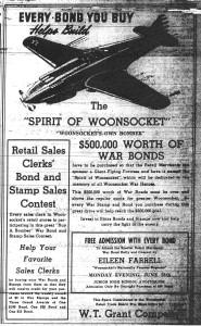 Spirit Of Woonsocket WWII Bomber Ad - Woonsocket, Rhode Island