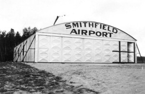 The original hangar at the Smithfield R.I. Airport which opened in 1932.  Bryant University now occupies this land.