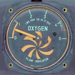 WWII Era Aircraft Oxygen Gauge - Made 1944