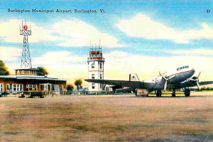 Vintage Post Card View Of Burlington, Vermont, Municipal Airport