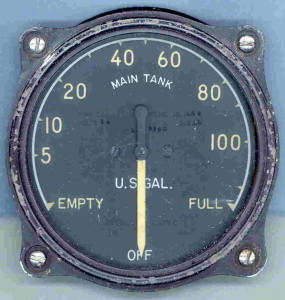 Early U.S. Navy F4F Wildcat Fuel Gauge