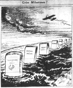 Grim Milestones.  Illustration from Sept. 20, 1927, depicting headstones for those lost on attempted trans-Atlantic flights.