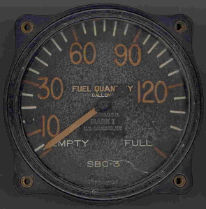 Pre-World War II SBC-3 Helldiver Fuel Gauge