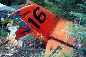 The tail, wings, and nose of the aircraft   had been painted orange.   Courtesy of Larry Webster Quonset Air Museum