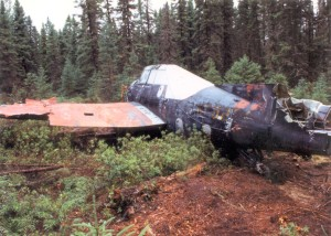 Another view of the crash site.   Note brush and trees have been cleared.  Courtesy of Larry Webster Quonset Air Museum