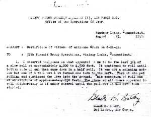 Witness Statement Of 2nd Lt. Glade B. Bilby CLICK TO ENLARGE