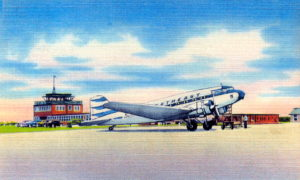 Postcard view of a Northeast Airlines plane at Martha's Vineyard.