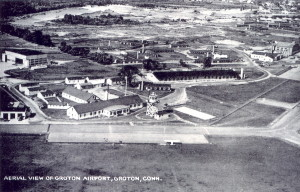 Vintage Post Card View Of Groton, Conn. Airport