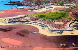 Vintage Post Card View Of Boston's Logan Airport