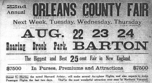 Advertisement for the Orleans County Fair - 1911