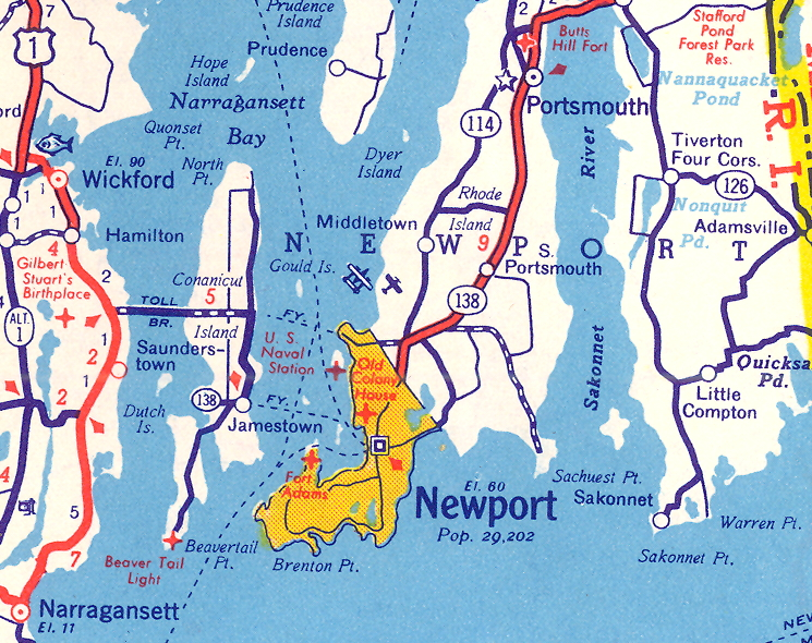 Middletown RI Airport 1930s map