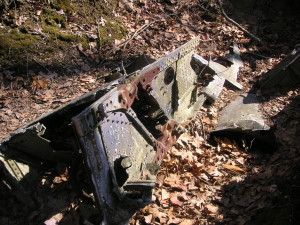 Wreckage from a navy aircraft in the woods of Connecticut.