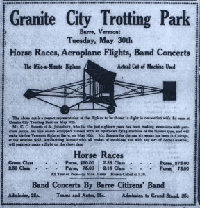"1911 advertisement for the Granite City Trotting Park where Professor Bonette was to make his first flight in Vermont with his new ""aeroplane""."