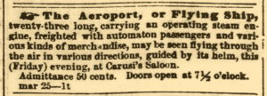Advertisement From The Daily Evening Star March 25, 1853 Note the cost of admission was 50 cents