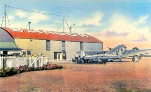 Old postcard view of Bangor Airport, Bangor, Maine.
